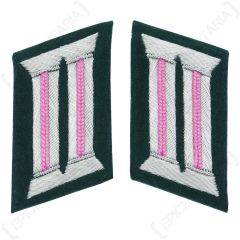 WW2 German Army Officer Collar Tabs (Panzer Pink)