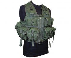 9 Pocket Olive Green Tactical Vest Front
