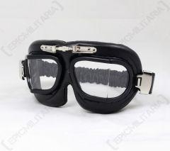 Premium RAF Style Pilot Goggles - Black