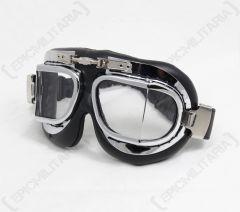 Premium RAF Style Pilot Goggles - Chrome