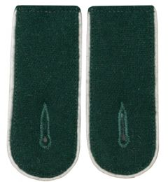 White Piped Bottle Green Shoulder Boards - cotton