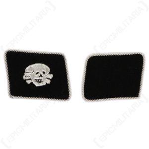 WW2 German Totenkopf Officer's Collar Tabs - 1st Pattern