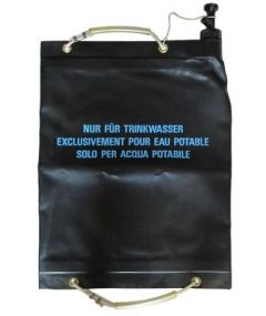 Front view of black plastic Swiss Army 20L Water Carrier bag