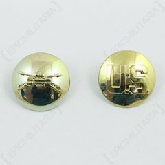 US Armored Cavalry and Monogram Collar Discs - Gold