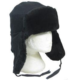 Original Soviet Black Fur Ushanka Hat