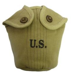 Green canvas American Army Water Bottle Cover with US stamped on the front in black
