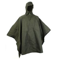 Original Lightweight Olive Green Poncho - Wooden Toggle Thumbnail