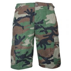 Woodland Camo BDU Rip Stop Cargo Shorts