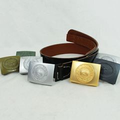 WW2 German Black Leather Belt and Buckle Thumbnail