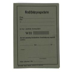 WW2 German Vehicle Registration Document