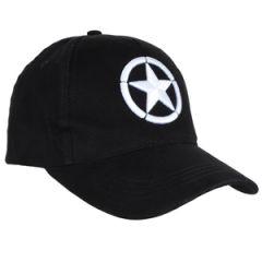 WW2 Star Black Baseball Cap - Embroidered