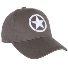 WW2 Star Grey Baseball Cap - Embroidered