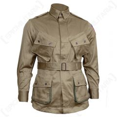Front view of khaki WW2 US Airborne M1942 Jacket with four popper-shut pockets and a waist belt
