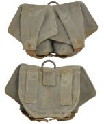 Front and back view of light green canvas Russian Grenade Pouch