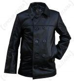 Black Leather US Navy Pea Coat