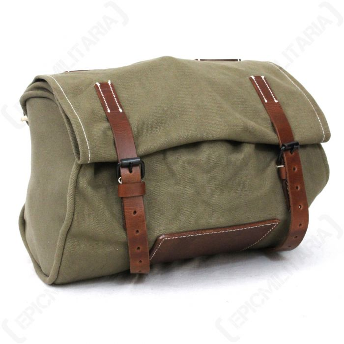CANVAS /& LEATHER New made Vintage Swiss Army Bicycle Handlebar Bag