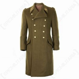 WWII Men's Military Coat Wool Gold Button Olive Green Trench Winter Coat Size Medium